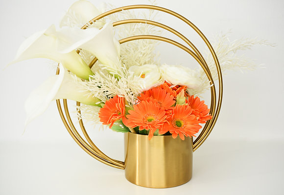 Flowers Arrangement in Golden metal Vase