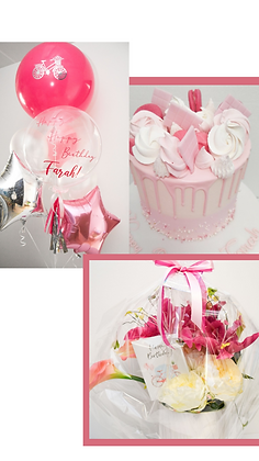 Cake, Flowers, Balloons & Greeting Card