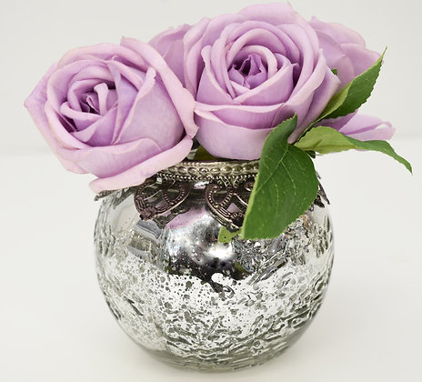 Real Touch Roses in Glass Pot