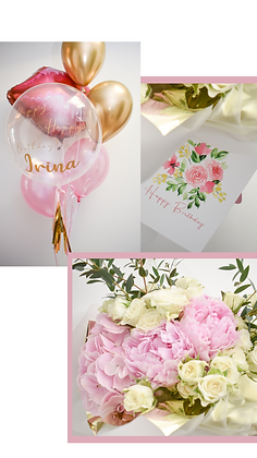Balloons, Fresh Flowers & Greeting Card