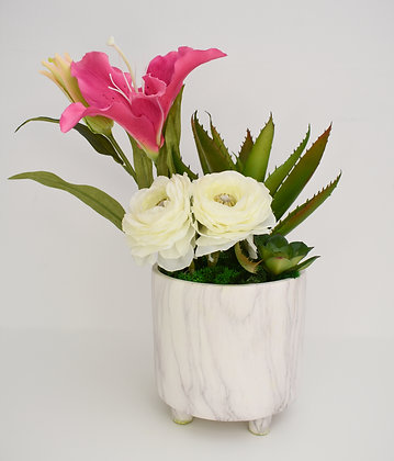 Tropical Flowers Arrangement in Ceramic pot with Marble Design