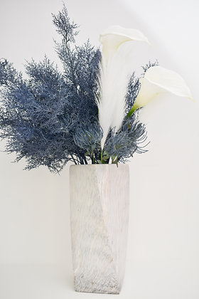 Flower Arrangement in Ceramic Vase with Marble Design
