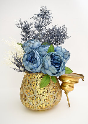 Golden Vase with Blue Flowers