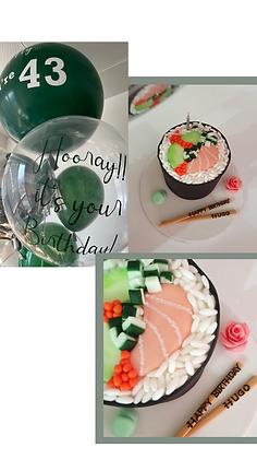 Cake, Balloons & Greeting Card