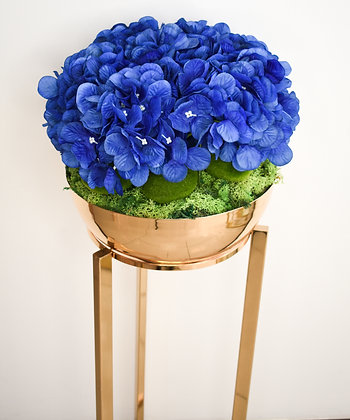 Blue Hydrangeas Arrangement in Metal Standee Pot