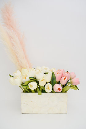 Tulips Real Touch Arrangement in Mother-of-pearl vase