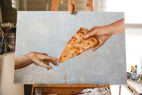 natalie shaul shop, natalie shaul pizza art, נטלי שאול ציור של פיצה