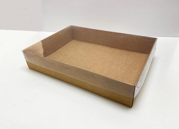 (עוגת מספר 1) תחתית קרטון מכסה שקוף חיצוני וקרטון פנימי 35-25-7 ס״מ