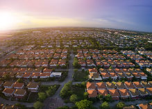 aerial view of home village in bangkok t