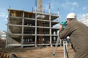 worker surveyor measuring distances, ele