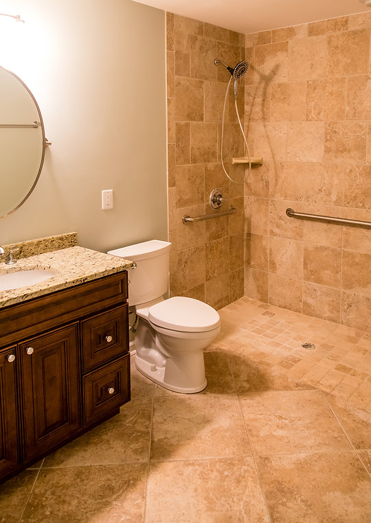 A modern bathroom with tile compliant wi