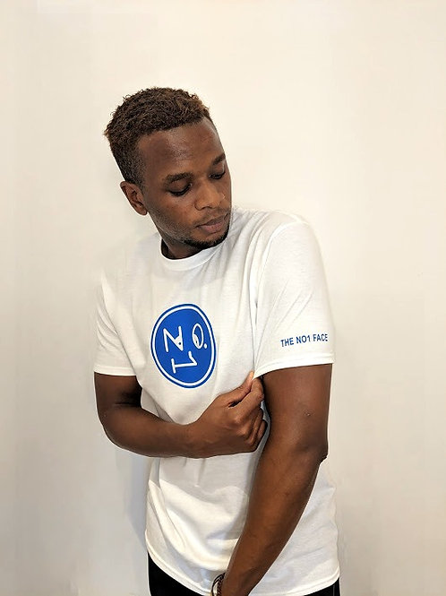 THE NO1 FACE T shirt - White/Blue