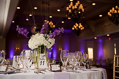 Wedding reception with purple uplights.j