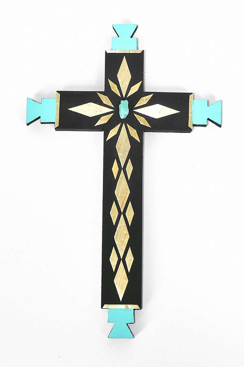 Cross-Straw Applique on Painted Wood (Large)
