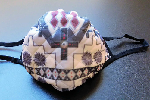 FACE MASK-Large size, Quilted cloth with printed diamond design