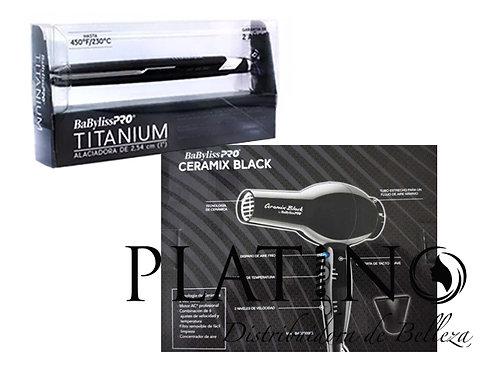 SECADORA CERAMIX BLACK Y PLANCHA TITANIUM BABYLISS PRO