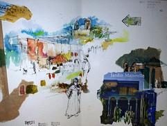 Man in a Village Sketch