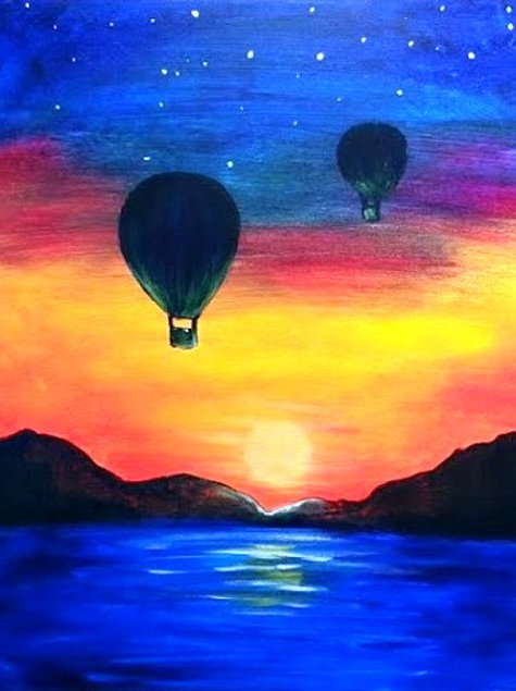 """*SOLD OUT* Saturday, March 20 """"Hot Air Balloons at Night"""" Paint Night"""