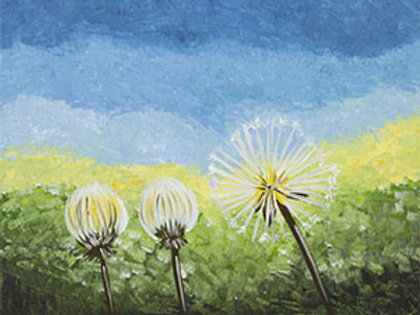 "Weds 8/9 ""Dandelion Trio"" Paint Night- Special!"