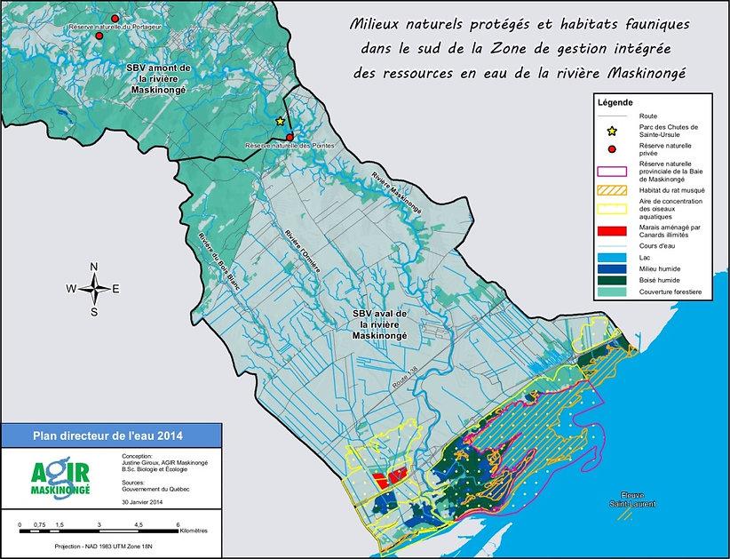 Les milieux naturels d'intérêt dans le sous-bassin versant aval de la rivière Maskinongé
