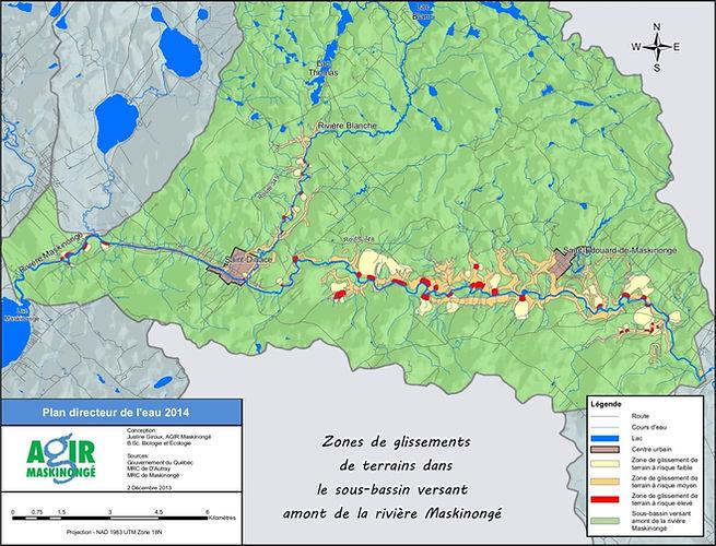 Zones de glissemens de terrains dans le sous-bassin versan amont de la rivière Maskinongé