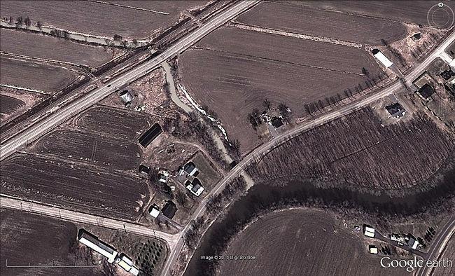 Photographie aérienne de l'embouchure de l'Ormière dans la rivière Maskinongé