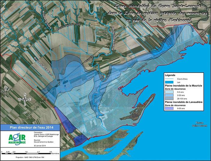 Zones inondables du lac Saint-Pierre dans le sous-bassin versant aval de la rivière Maskinongé