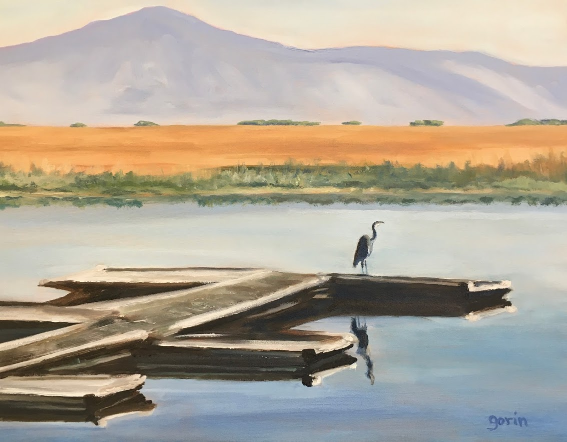 Heron's Home, Lower Klamath Lake, oil