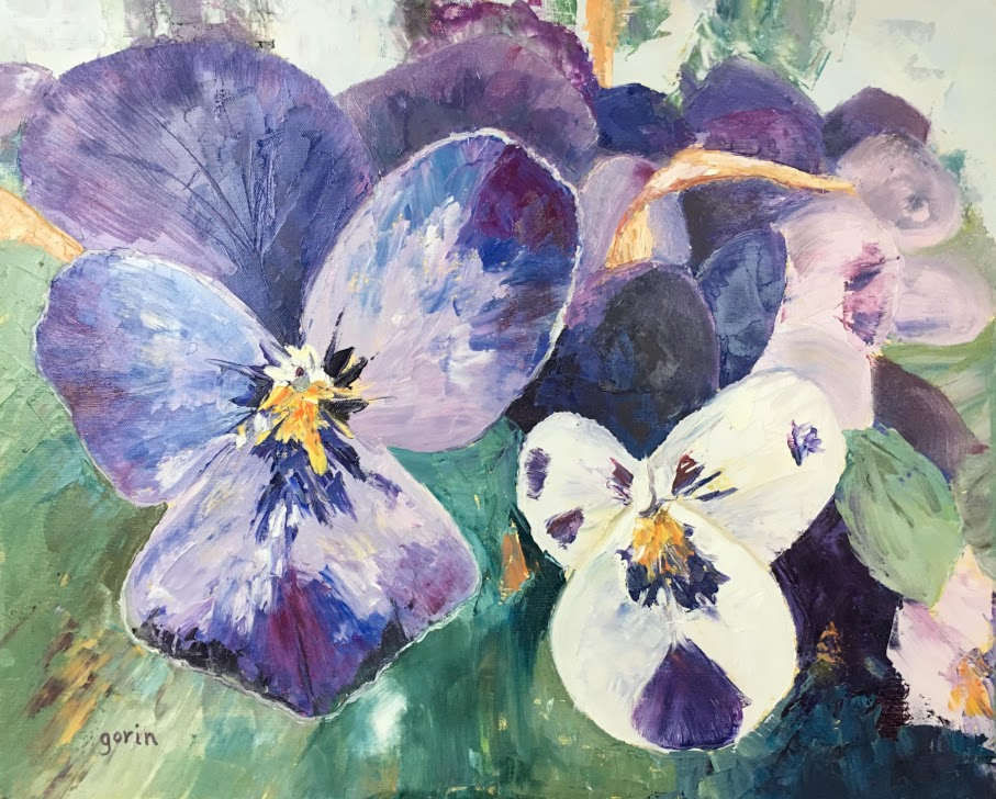 Purple and White, Pansies, Oil, 2019