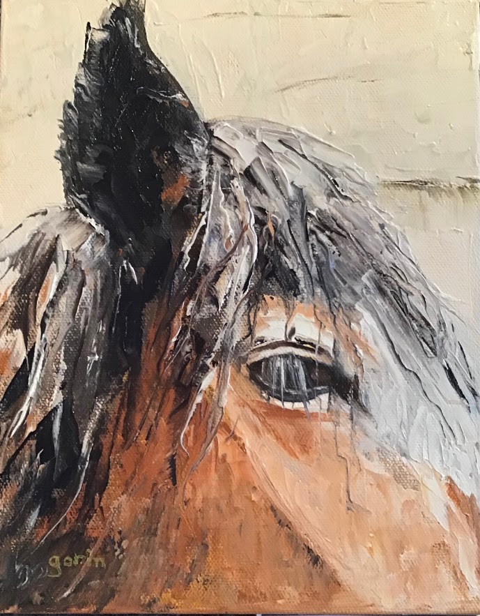 Horse closeup, oil