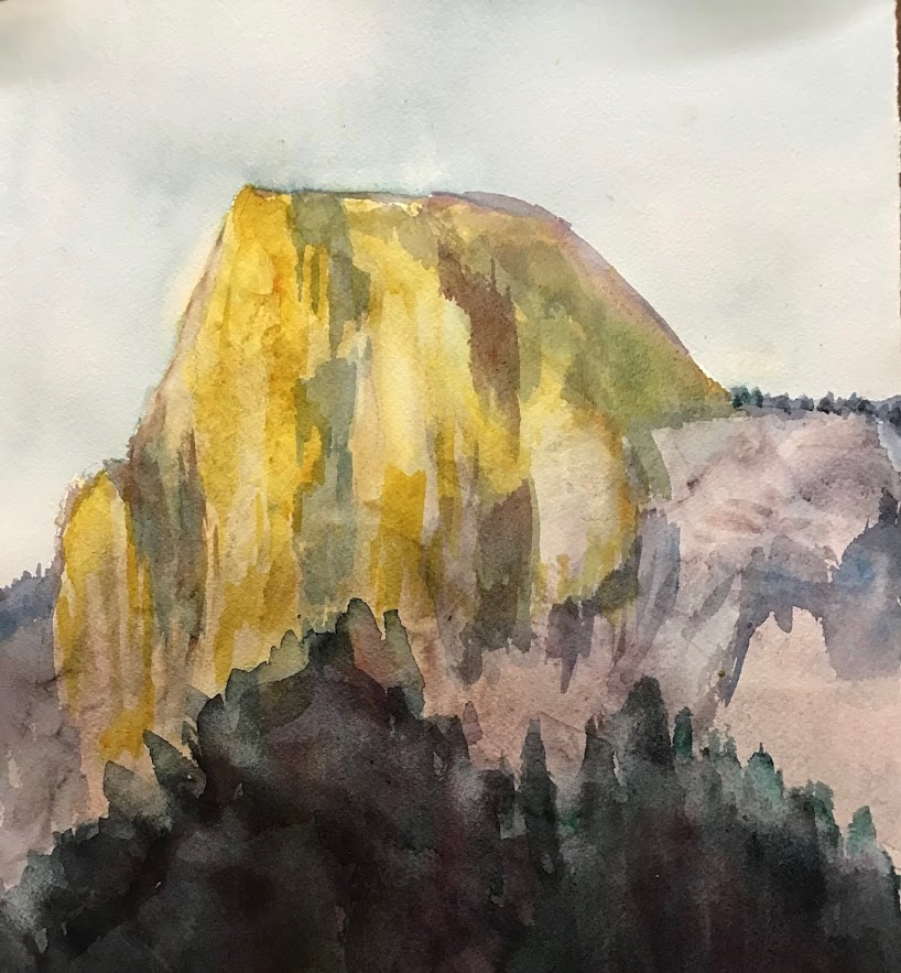 Half Dome in light, Watercolor