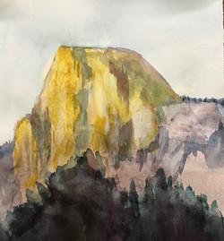 Half Dome in light, Watercolor