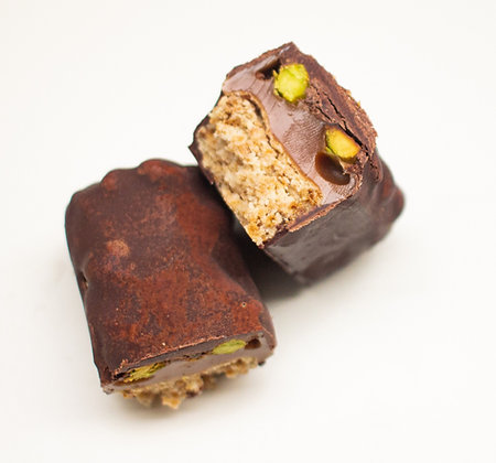 Barres Gourmandes Chocolat Noir - Pistaches - vegan et sans gluten
