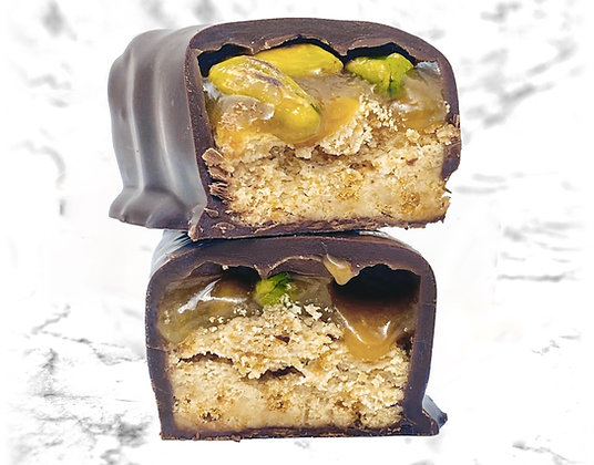 barre gourmande chocolat noir vegan ig bas sans gluten pistache