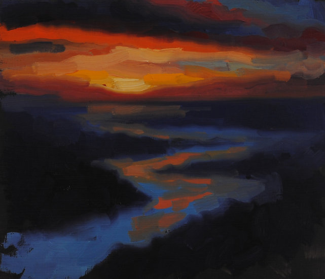 """Beach Sunset Study (3)"". By Adam Wexelblatt. Oil on Panel. 9""x11"""