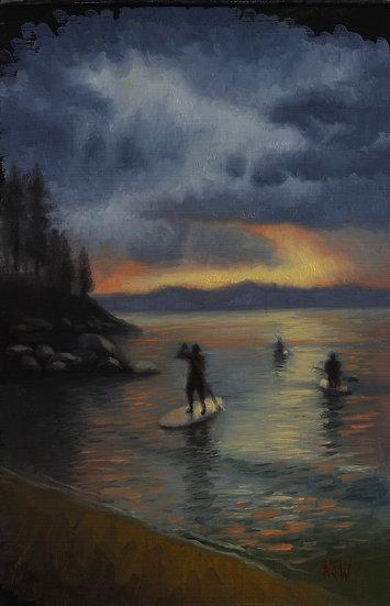 """Hidden Beach Study"". By Adam Wexelblatt. Oil on Panel. 8""x12"""