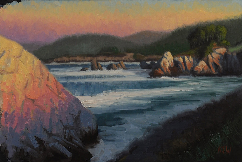 """Point Lobos Study"". Oil on Panel. 8""x12"""