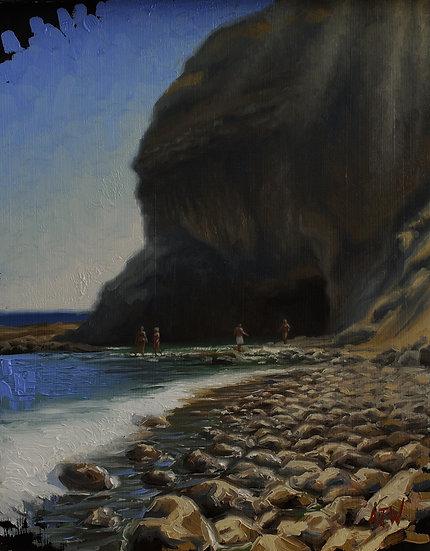 """Sacred Cove Study (1)"". By Adam Wexelblatt. Oil on Panel. 9""x12"""