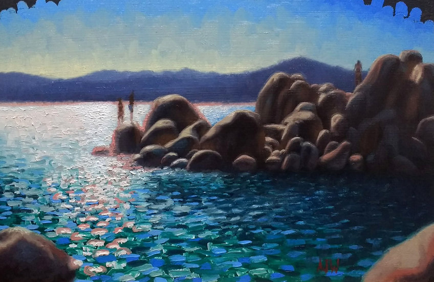 """Sand Harbor Study (1)"". By Adam Wexelblatt. Oil on Panel. 8""x12"""