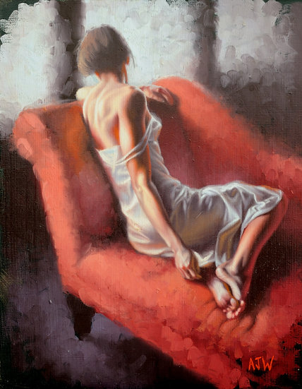 """""""The Red Chaise (2)"""". Oil on Panel. 9.25""""x12"""""""