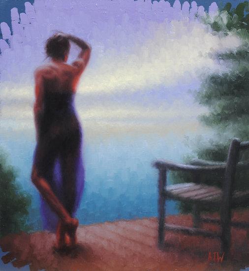 """""""The Murphy House Terrace (2)"""". By Adam Wexelblatt. Oil on Panel. 12""""x11"""""""