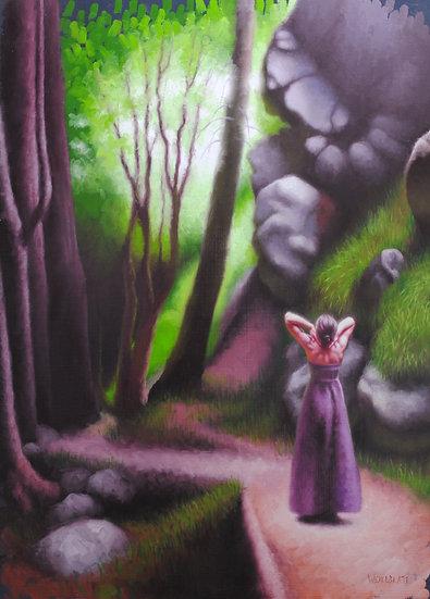 """The Esalen Canyon Trail (2)"". By Adam Wexelblatt. Oil on Panel. 26.5x19 inche"
