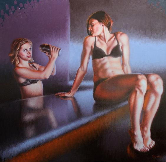 """A Rainy Day (2)"". By Adam Wexelblatt. Oil on Panel. 36.5""x36"""