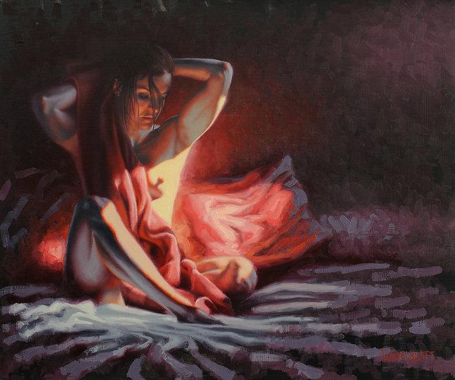 """Saturday Morning (4)"". By Adam Wexelblatt. Oil on Panel. 17""x20"""