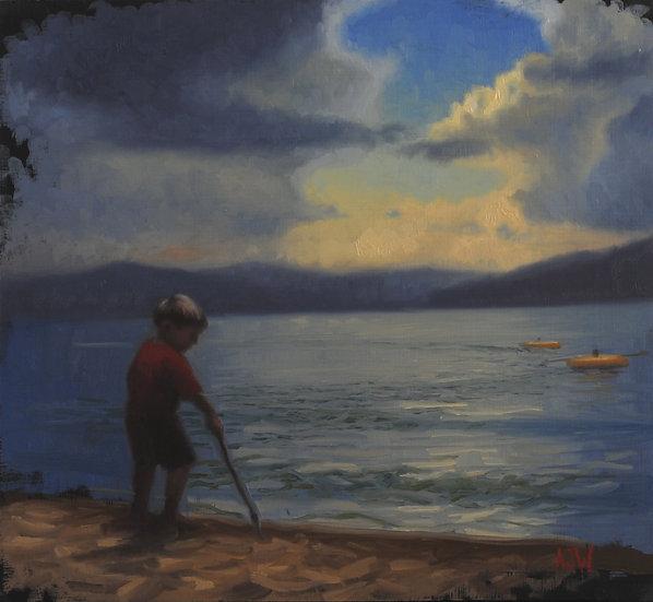 """Hidden Beach Study (2)"". By Adam Wexelblatt. Oil on Panel. 11""x12"""