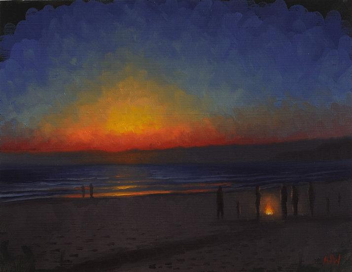 """""""Beach Sunset Study (2)"""". Oil on Panel. 9""""x12"""""""