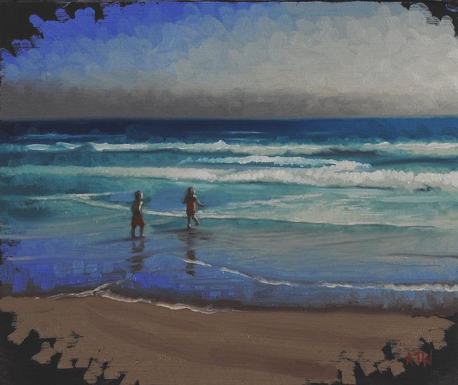 """Splashers Study (2)"". By Adam Wexelblatt. Oil on Panel. 10""x12"""