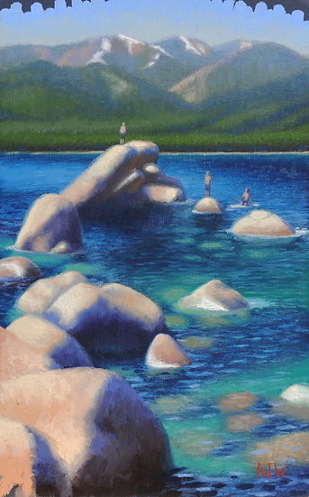 """Sand Harbor Study (6)"". By Adam Wexelblatt. Oil on Panel. 7.5""x12"""