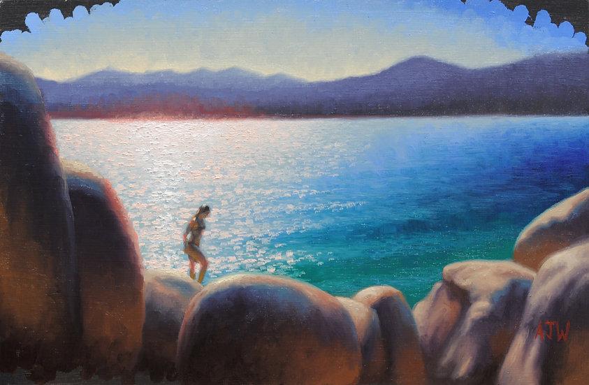 """Sand Harbor Study (3)"". By Adam Wexelblatt. Oil on Panel. 8""x12"""