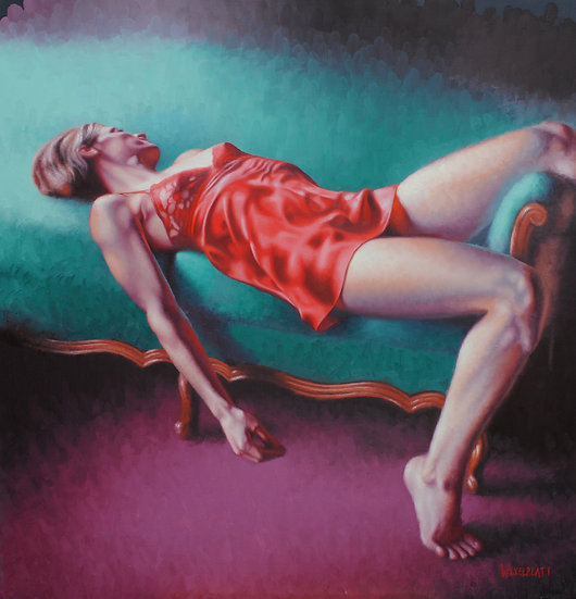 """The Sea Foam Chaise"". By Adam Wexelblatt. Oil on Panel. 24""x25"""